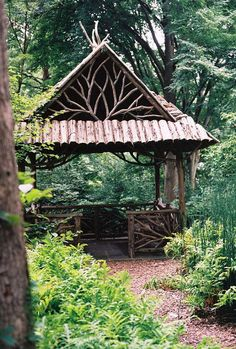 Fireplace - Home and Garden Design Ideas Garden rustic gazebo rose arbor Cottage garden Outdoor Rooms, Outdoor Gardens, Outdoor Living, Wood Gardens, Zen Gardens, Rustic Gardens, Garden Structures, Outdoor Structures, Gazebos