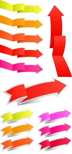 Colored arrows label vector graphics