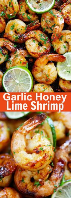 Garlic Honey Lime Shrimp – garlicky, sweet, sticky skillet shrimp with fresh lime. This recipe is so good and easy, takes only 15 mins to make