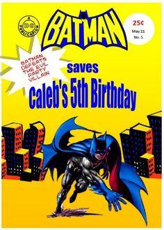 Batman Comic book design for party - Batman Party