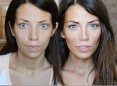 "The difference between no makeup and ""No Makeup"" from @Cara K Brook"