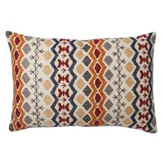 "Embroidered Geometric Toss Pillow (14x20"")"