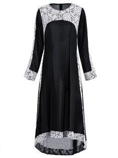 Lace Insert Maxi Asymmetric Long Sleeve Dress - BLACK XL