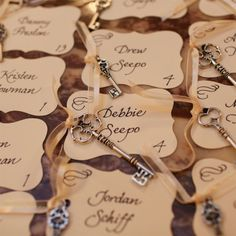 Key-themed Escort Cards | Clark + Walker Studio | Theknot.com