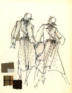 Zack Carr Sketch of Calvin Klein designs | by FIT Library Department of Special Collections
