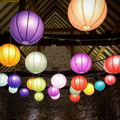 A feel-good, multi-coloured summer wedding at the Monks Barn in Hurley The Monks, Ceiling Decor, Paper Lanterns, Lampshades, Hurley, Summer Wedding, Feel Good, Barn, Events