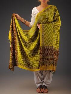 Buy Mustard Maroon Green Gajji Silk Ajrakh Printed Dupatta By Jaypore Silken Imprints Dupattas from Kutch Online at Jaypore.com