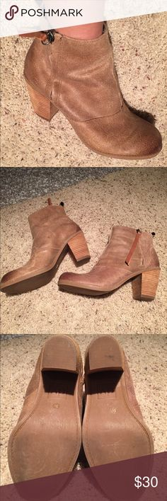 Dolce Vita Joust ankle boot Dolce Vita joust ankle boot. Only worn once. Beige colored distressed suede with brown leather zipper accent. Wooden heel is 3 inches. Excellent condition.  Size 9 1/2 Dolce Vita Shoes Ankle Boots & Booties