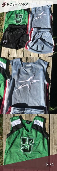(Two) Upward cheer outfits Size YM. (Two) Upward Cheer outfits - green top, black skort, grey top grey skort. Used, slight pulling. Size YM. Upward Other