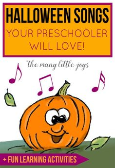 These silly (not spooky) Halloween songs are a great way to get your preschooler excited for fall. Do the learning activities connected to each one to turn a funny song into an engaging educational opportunity. Halloween Crafts For Kids, Halloween Themes, Halloween Fun, Fall Crafts, Halloween Bedroom, Halloween Tricks, Halloween Celebration, Fun Learning, Learning Activities