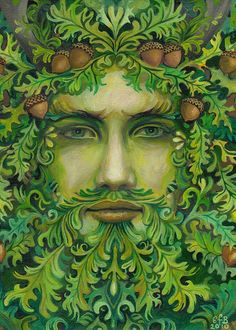 The Oak King is in the ascendant in the summer half of the year, starting at the Spring Equinox& reaching the height of his powers at Midsummer.  Artist Emily Balivet.