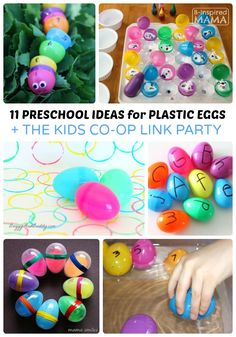11 Preschool Easter Activities using Plastic Eggs Have a preschooler and Plastic Easter Eggs littering your living room? Put them to use with these creative and educational Preschool Easter Activities! Easter Activities For Preschool, Spring Activities, Easter Crafts For Kids, Toddler Preschool, Toddler Activities, Preschool Activities, Easter Ideas, Plastic Egg Crafts For Kids, Space Activities