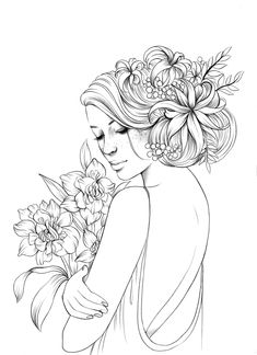 Love Drawings, Art Drawings, Flower Crown Drawing, Free Adult Coloring, Coloring Book Pages, People Coloring Pages, Black And White Drawing, Art Sketchbook, Art Sketches