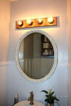 super easy hollywood light fixture upgrade for under 5 bathroom ideas how to lighting repurposing upcycling Vanity Light Fixtures, Diy Light Fixtures, Kitchen Lighting Fixtures, Bathroom Fixtures, Wood Bathroom, Bathroom Ideas, Bathroom Updates, Bathroom Inspiration, Master Bathroom