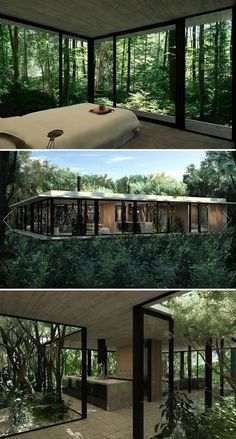 Stunning Modern Container House Design Ideas for Comfortable Life Every Day – Future House, Casas Containers, Forest House, House Trees, House Tree Plants, Indoor Tree House, Forest Hill, Modern House Design, Modern Tree House