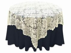 Click to enlarge http://www.efavormart.com/72x72-jolly-good-lace-ivory.aspx Our Price: $18.99          Size Linens: 72 x 72 in  Color: Ivory  Theme: Swirls  Material: Lace  Quality: Premium
