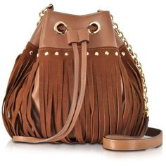 Diane Von Furstenberg Handbags Disco Saddle Brown Suede and Leather... ($205) ❤ liked on Polyvore featuring bags, handbags, shoulder bags, bolsas, purses, leather crossbody handbags, brown leather purse, fringe crossbody purse, leather fringe handbag and leather purse