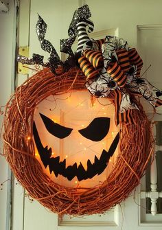 Lighted Jack-o Lantern Pumpkin WreathYou can find Halloween wreaths and more on our website.Lighted Jack-o Lantern Pumpkin Wreath Retro Halloween, Spooky Halloween, Halloween Door Wreaths, Vintage Halloween Decorations, Holidays Halloween, Halloween Crafts, Halloween Lanterns, Outdoor Halloween, Halloween Halloween