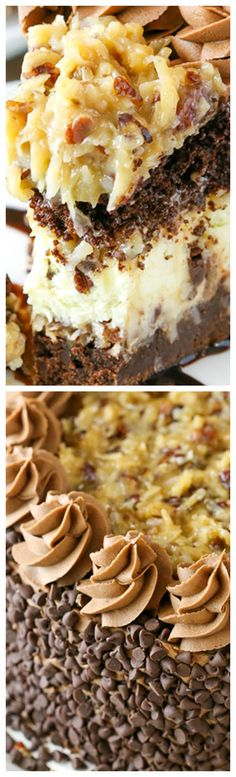 Outrageous Chocolate Coconut Cheesecake Cake ~ Layers of brownie, coconut chocolate chip cheesecake, chocolate cake and coconut pecan filling, it's an over-the-top mix of so many delicious things! Chocolate Coconut Cheesecake Recipe, Coconut Pecan, Coconut Chocolate, Chocolate Cake, Tiramisu Recipe, Chocolate Topping, Cheesecake Cake, Cheesecake Recipes, Dessert Recipes