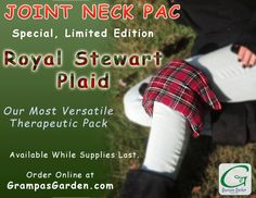 Our Most Versatile Therapy Pack! Joint Neck Pac now available in Royal Stewart Plaid as a limited edition fabric. Get Yours At: http://www.grampasgarden.com/hot-cold-natural-therapy-pacs/joint-neck-pac-royal-stewart-limited.html  #hotpack #holiday #october #new #royalstewart