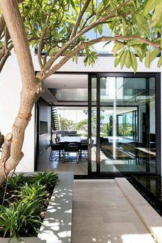 porte d'extérieur coulissante, arbres, jardin, cour, maison, extérieur, idée…