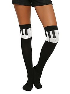Piano Note Over-The-Knee Socks, , hi-res