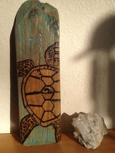 wood burnt sea turtle on driftwood ECO art wall by StonedGypsy