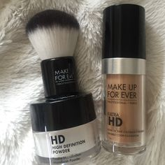 MAKE UP FOR EVER Bundle! High definition powder with brush, and Ultra HD Foundation shade (140 or Y305) New! Makeup Forever Makeup Foundation