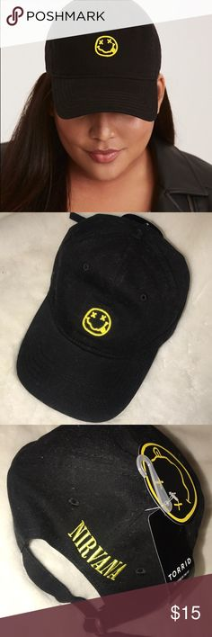 Torrid Nirvana baseball cap Super cute black and yellow Nirvana baseball cap. Never worn just tried on, bought it on posh but it doesn't fit me properly. torrid Accessories Hats