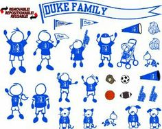 """NCAA Duke Blue Devils Decal Family by Stockdale. $14.19. Re-Positionable Vinyl Doesn't Leave Messy Residue When Moved. Made in USA. High Performance Indoor / Outdoor Vinyl. Officially Licensed NCAA Product. Multiple Characters and Accessories in each Kit to Conform to Your Family. Duke Blue Devils 12'' x 12'' Family Car Decal SheetOfficially licensed collegiate productMade in the USAHigh-quality team graphics12"""" x 12"""" decal sheetRemovable & reusableAttaches to most smooth surface..."""
