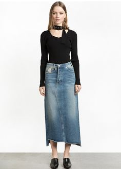 Top Summer Trends—High-waisted Pixie Market Denim Skirt with frayed hem