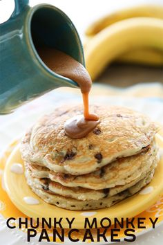 Banana Chocolate Chip Pancakes With Peanut Butter Maple Syrup-Amazing Tender, Fluffy Buttermilk Pancakes With The Most Killer Syrup Ever. Breakfast Recipes, Dessert Recipes, Breakfast Pancakes, Desserts, Breakfast Ideas, Sunday Breakfast, Pancake Recipes, Dinner Recipes, Banana Chocolate Chip Pancakes