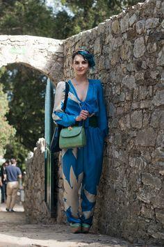 green purse + blue jumpsuit + j.behr headband