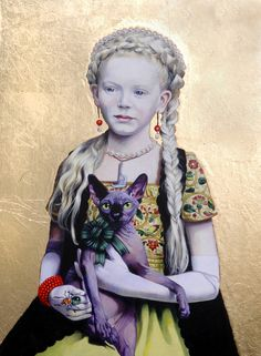 """Titti Garelli; Acrylic, 2010, Painting """"Gothic Queen with a Sphinx Cat"""""""