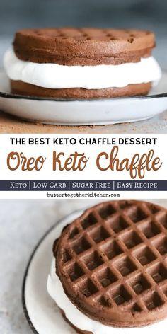 Oreo Keto Chaffle - Delicious sweet treat keto oreo chaffle that takes only. - Oreo Keto Chaffle - Delicious sweet treat keto oreo chaffle that takes only. Keto Desserts, Keto Friendly Desserts, Dessert Recipes, Holiday Desserts, Dinner Recipes, Quick Keto Dessert, Keto Sweet Snacks, Keto Snacks To Buy, Xmas Recipes