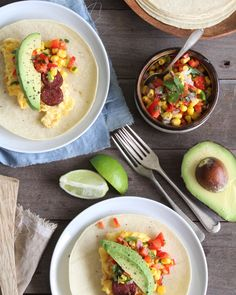 Breakfast soft tacos - This makes a wonderful shared family brunch. Little ones love eating with their hands and building their own tacos, and there's lots of fresh flavour here to keep adults very happy too. Soft Tacos, Love Eat, Brunch, Hands, Fresh, Breakfast, Building, Ethnic Recipes, Food