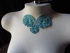 Lace Applique in TEAL for Necklaces  Costume by MaryNotMartha