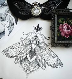 To many people, tattoos are exotic and daring things to get into. It's such a huge decision as the design, whatever it may be, will be permanent. Backpiece Tattoo, Sternum Tattoo, Mandala Tattoo, Lotus Tattoo, Moth Tattoo Design, Tattoo Designs, Tattoo Sketches, Tattoo Drawings, Neue Tattoos