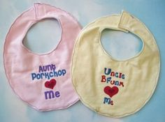 Aunt & Uncle Bibs: custom made