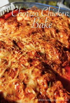 Chorizo Chicken Bake--A powerfully delicious recipe! Chorizo, chicken, cream cheese and diced tomatoes all bake together for a very simple recipe. Mexican Food Recipes, New Recipes, Turkey Recipes, Cooking Recipes, Favorite Recipes, Chorizo Recipes Healthy, Simple Recipes, Recipies, Cheesy Baked Chicken