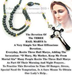 The novena of the 3 Hail Mary's -- loved by St. Martin de Porres, St. Martin of Port Maurice, St. Alphonsus Maria de Liguori
