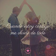 bonita imagen chida de pareja con frase de amor para facebook | amordeimagenes.es