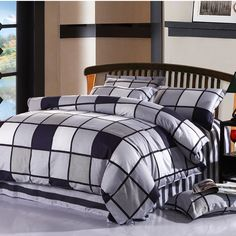 100%Cotton Twom Full Queen King Size Black White Plaid Bedding sets kids boy bedclothes 4 Pcs bed linen Duvet cover Pillowcases //Price: $40.38 & FREE Shipping //     #hashtag4
