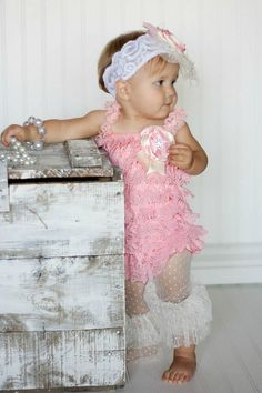 FREE SHIP Petti Romper Pink Ruffled Lace by PinkLimonadeBoutique