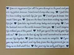 Personalized Hand Painted Canvas (36 x 24) Word Art with hearts. $80.00, via Etsy.