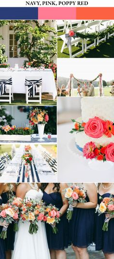 Navy, pink, and poppy red spring wedding color palette | Images by Love Lit Wedding Photography