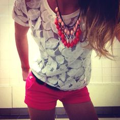 Outfit of the day: Abercrombie shorts and shirt with American Eagle necklace