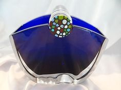 Baccarat-Oceanie-Vase-Cobalt-Blue-Clear-with-Millefiori-Accent-MINT-Condition