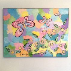 Butterflies original acrylic on canvas sparkling painting signed & dat – Nettie Price Sparkling Art