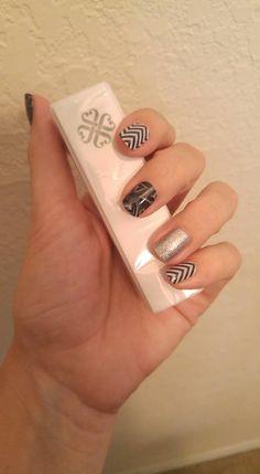 Chalkboard Hearts, Black & White Chevron and Diamond Dust Sparkle #jamberry #manicure #easy #nails #nailart #combination #glitter #silver